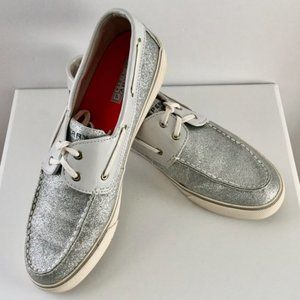 Sperry Biscayne Silver Sparkle Top Siders